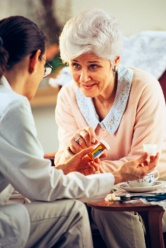 discussing medication with provider