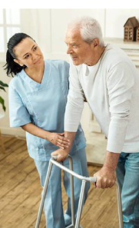 nurse and man with walker